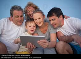 happy family spending time with pad outdoor a royalty free stock