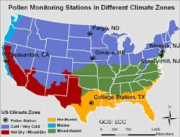 us climate map geographical locations of six selected pollen monitoring stations