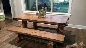 oak barnwood table with matching benches iron rail tables