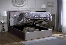 King Ottoman Limelight Rhea 5ft Kingsize Plush Silver Velvet Fabric Ottoman Bed