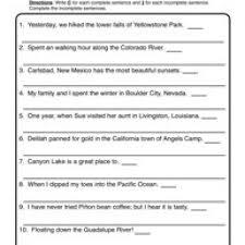 writing in complete sentences worksheet free worksheets library