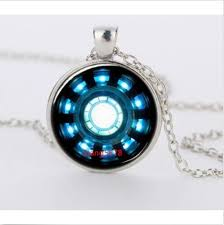 silver necklace diy images Iron man arc reactor glass dome silver necklace for women men jpg