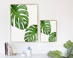 Wall Art Home Decor Tropical Leaf Tropical Leaves Monstera Leaves Inspirational
