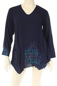 cat blouse dn1722cats blouse v neck 3 4 sleeve a shape cat embroidery