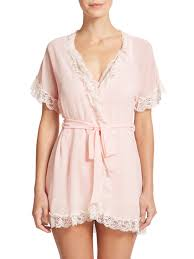 In Bloom By Jonquil In Bloom Lace Trim Chiffon Wrap Robe In Pink Lyst