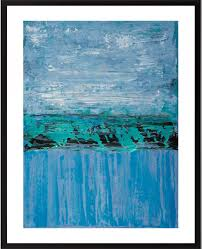 set of two original painting abstract landscape painting turquoise