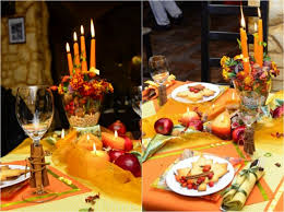 thanksgiving table decorations setting candles fruits nuts