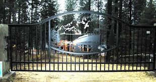ornamental iron single swing drive gates gallery 4