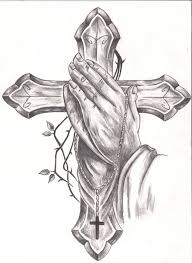 praying hands rosary cross banner tattoo photo 2 photo