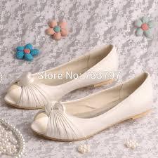 wedding shoes toe aliexpress buy wedopus women wedding shoes ivory peep toe