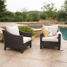 caspian outdoor patio furniture multibrown wicker club chair with caspian outdoor patio furniture multibrown wicker club chair with beige water resistant fabric cushions set