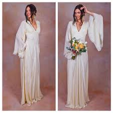 ivory pure silk bohemian wedding dress bell angel sleeves