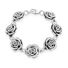 silver flowers 925 sterling silver flower floral bracelet 7 5 inches