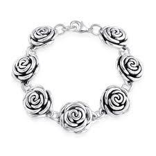 rose silver bracelet images 925 sterling silver flower rose floral bracelet 7 5 inches jpg