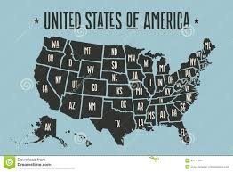 Image Map Of United States by Poster Map United States Of America With State Names Stock Vector