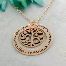 personalized family tree necklace gold personalized family tree necklace mothers jewelry