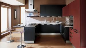 small modern kitchen ideas black wooden cabinet with silver steel counter top plus transparent
