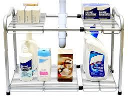under the kitchen sink storage ideas kitchen storage decobros under sink tier expandable shelf