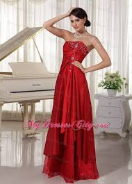 strapless a line wine red prom gown dress with embroidery