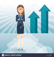 growing chart succesful business woman showing business growing chart stock