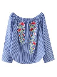 striped blouse embroidered shoulder striped blouse stripe blouses s zaful