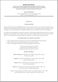 Resume For A Restaurant Job by Resume Fine Dining Resume