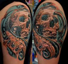 biomechanical skull on half sleeve cool tattoos