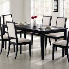 modern black dining room table centerpieces 6 chairs white leather