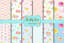 watercolor digital paper shabby chic patterns creative market