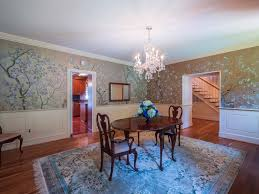 traditional dining room with interior wallpaper u0026 high ceiling in