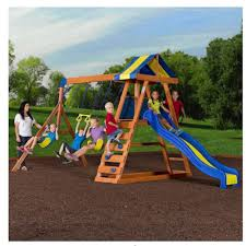 backyard swing set a big wooden complete for picture on