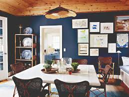 Blue Dining Room Ideas Fab Wooden Plafond With Custom Ceiling Lamp Over White Square