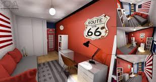 chambre a theme avec chambre pour ado sur le thème londres us dans les tons noir