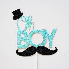 mustache cake topper oh boy cake topper baby shower glitter cake