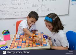 junior children in classroom playing a competitive stock
