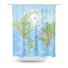 Greenland World Map by World Map Shower Curtain Shelfies
