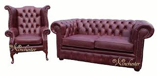 chesterfield 2 seater settee wing chair old english burgandy