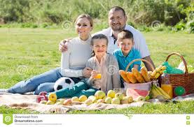 Kids Picnic Basket Parents With Two Kids Having A Picnic Stock Photo Image 73776821