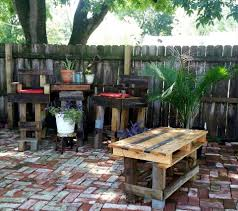 Patio Table Made From Pallets by Diy Pallet Outdoor Bar Table Set 101 Pallet Ideas