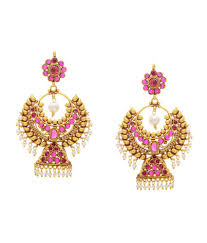 trendy gold earrings hyderabad jewels trendy gold pink chand bali hanging