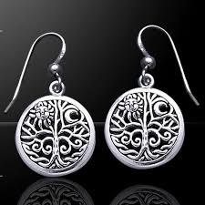tree of sterling silver earrings pagan jewelry wicca celtic