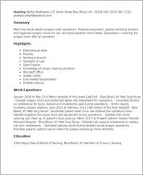 Example Of Nursing Resumes by Professional Med Surg Nurse Templates To Showcase Your Talent