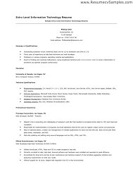 information technology resume samples good entry level resume examples 84 images doc 7911024 entry