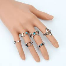 set 6 pcs vintage style 6pcs vintage ring set style mood ring moon arrow ethnic