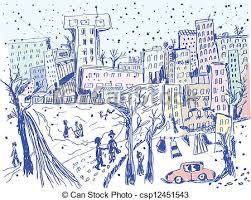 eps vector of city street in winter sketch of scene csp12451543