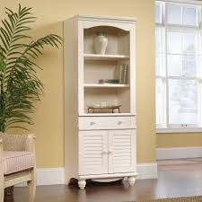 Sauder Harbor View Corner Computer Desk Antiqued White Finish Harbor View Library Bookcase With Doors 158082 Sauder