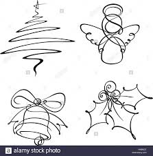 hand drowned line art icons the christmas tree and angel were