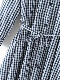 2 in 1 self tie gingham shirt dress shein sheinside