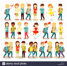 vector illustration set of children students pupils doing