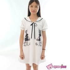 mori vintage funny cats sailor collar oversize long t shirt